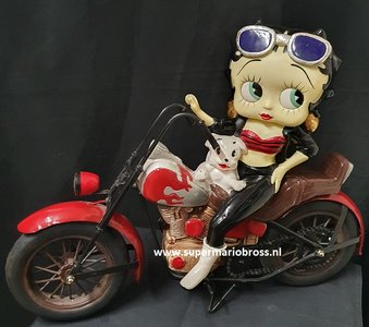 Betty Boop On Motorcycle - Rare Harley Davidson Polyresin,Figurine And metal Frame Statue