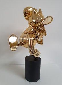 Donald Duck Chromed Gold Exited Statue - Disney Donald Gold Leblon Delienne Boxed Original Figurine