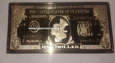 Walt Disney Dagobert Duck 24 Karaat 999 One Dollar Goud Baar - Scrooge Mc Duck 1 Dollar Gold-Plated Baar