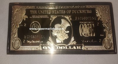 Walt Disney Dagobert Duck 24 Karaat 999 One Dollar Goud Baar - Scrooge Mc Duck One Dollar Gold-Plated Baar