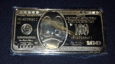 Scrooge Mc Duck 100 Dollar Gold Bar - Walt Disney Dagobert Duck 100 dollar Goud Baar New