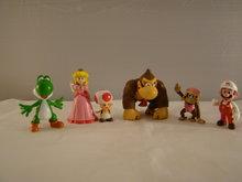 SETJE van 6 ,Donkey Kong, Dixie Kong, Mario, Yoshi, Princes en Toad