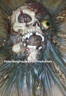 Skelet Met Uitpuilend Oog Schilderij - Fantasy Handpainted Figurine - Haloween Fantasy Wall Plate