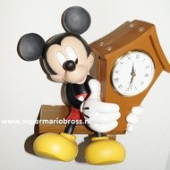 Mickey With Clock - Mickey Met Klok Polyresin - Disney Deco Beeldje - Boxed