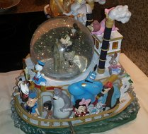 Disney Mickey's March 75 th Anniversary Steam Paddle Boat Musical Snow Globe Collectible